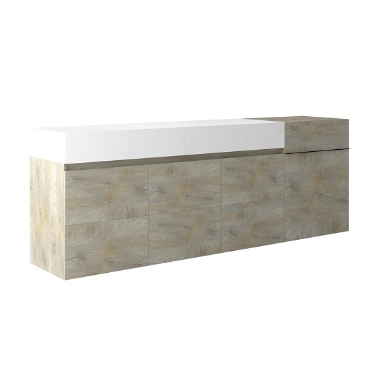 Muller Large Sideboard In Distressed Effect And White With LED_3