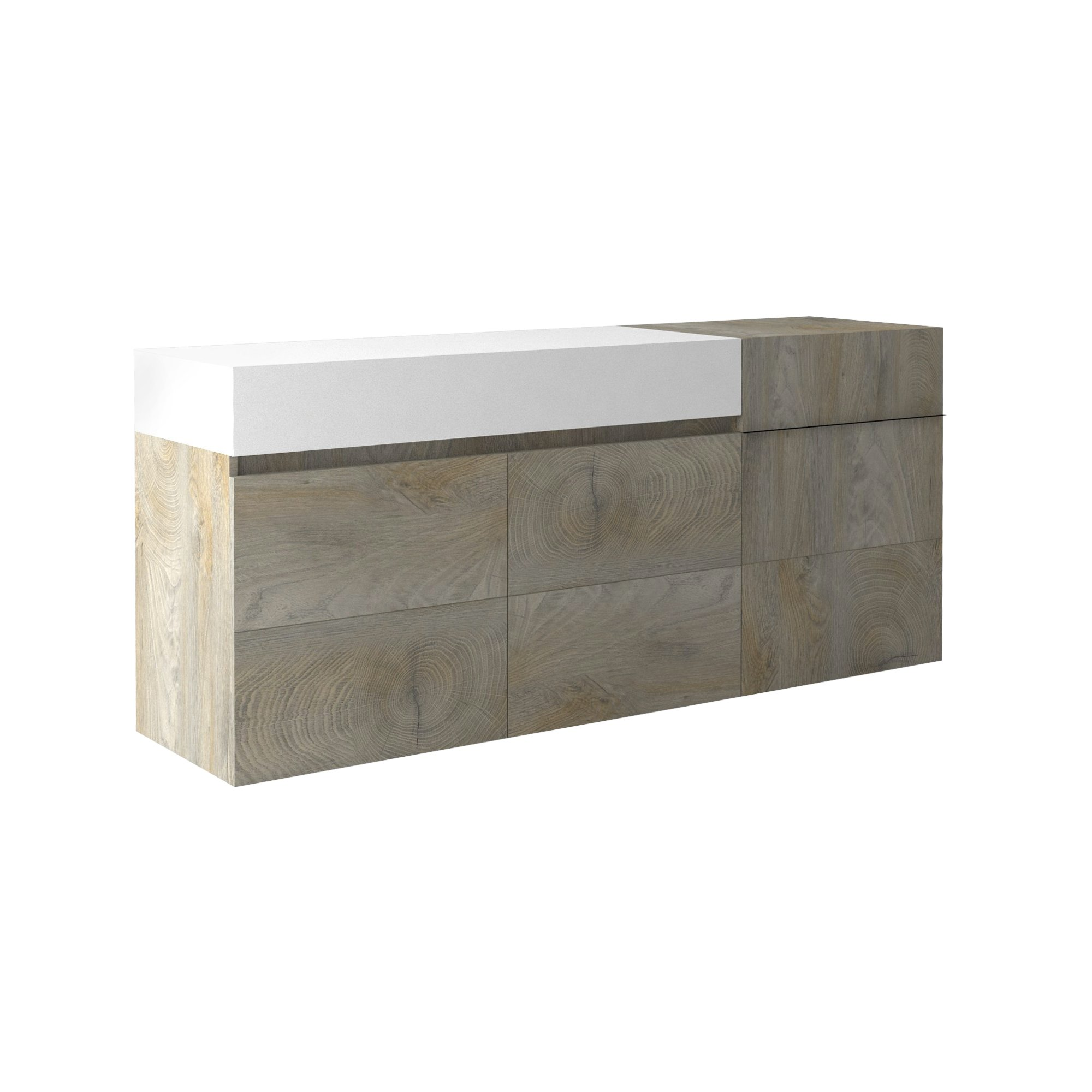 Muller Small Sideboard In Distressed Effect And White With LED_2