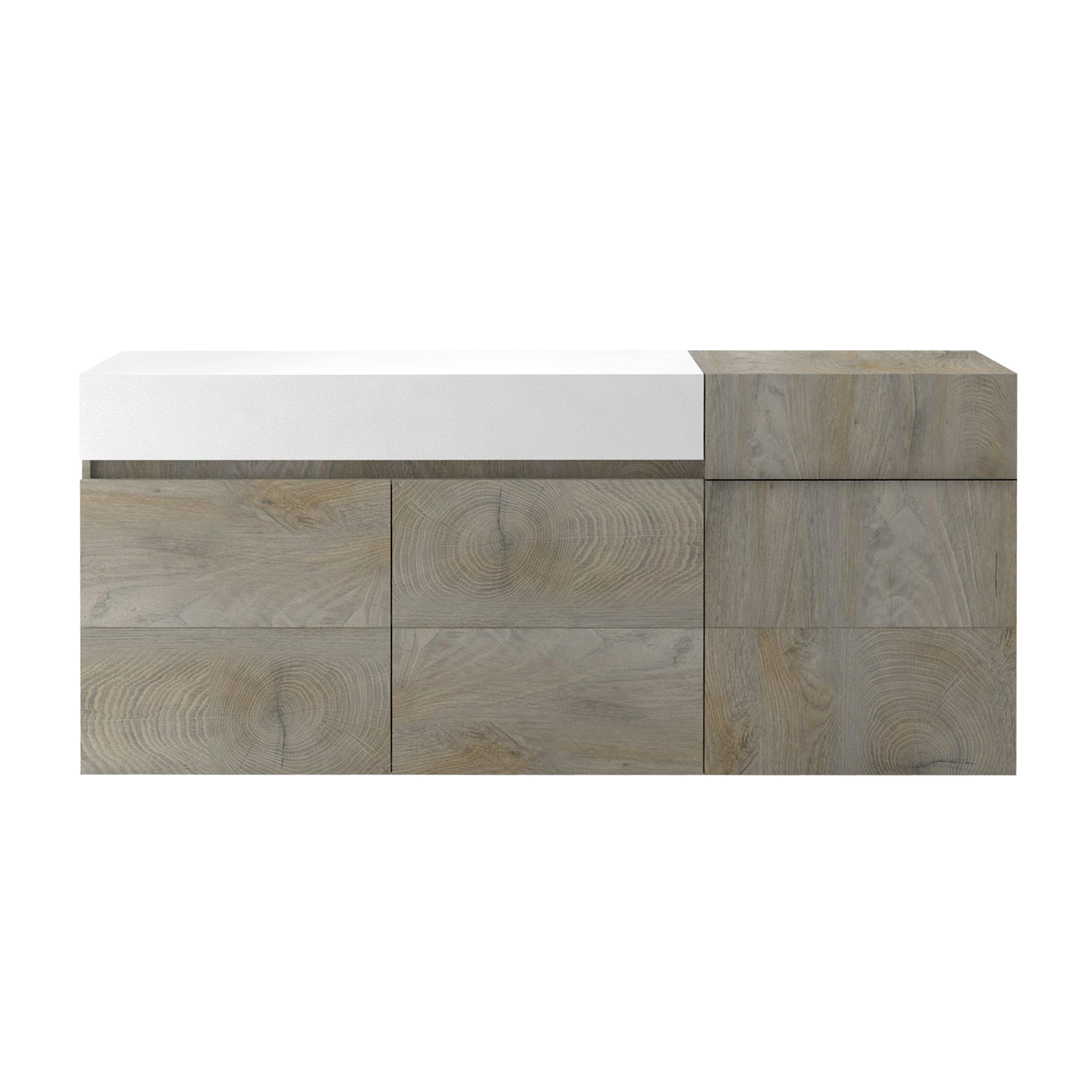 Muller Small Sideboard In Distressed Effect And White With LED_3