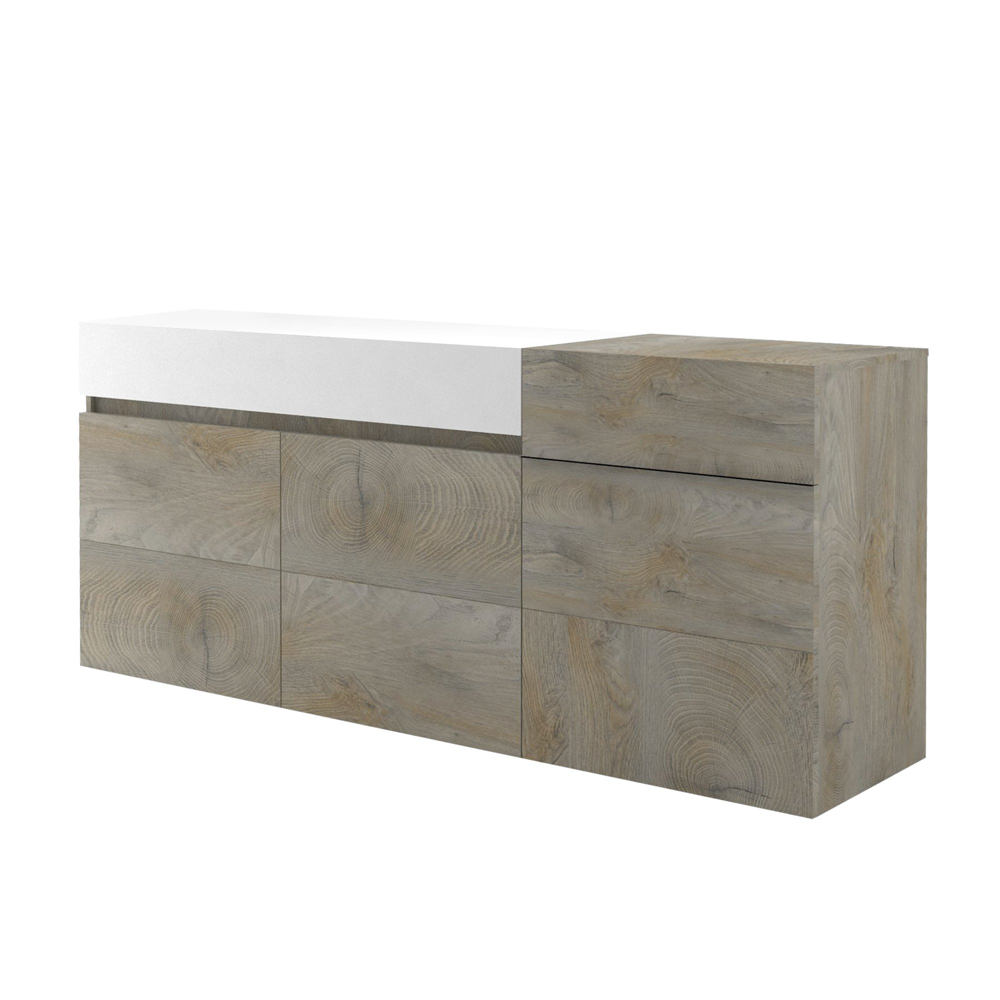 Muller Small Sideboard In Distressed Effect And White With LED_4