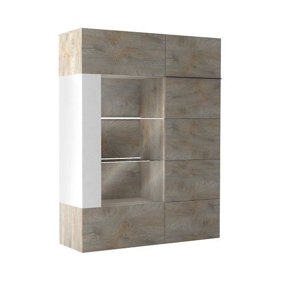 Muller Wooden Storage Cabinet In Distressed Effect And White