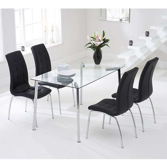 Muncol Glass Dining Table In Clear With 4 Gala Black Chairs