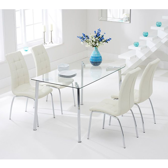 Muncol Glass Dining Table In Clear With 4 Gala Cream Chairs