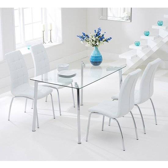 Muncol Glass Dining Table In Clear With 4 Gala Ivory Chairs