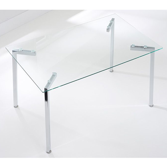 Muncol Rectangular Glass Dining Table With Chrome Legs_2