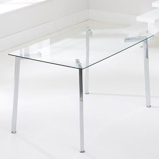 Muncol Rectangular Glass Dining Table With Chrome Legs