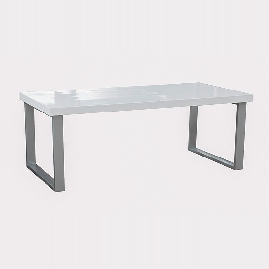 Mundell Coffee Table In White High Gloss With Chrome Base_1
