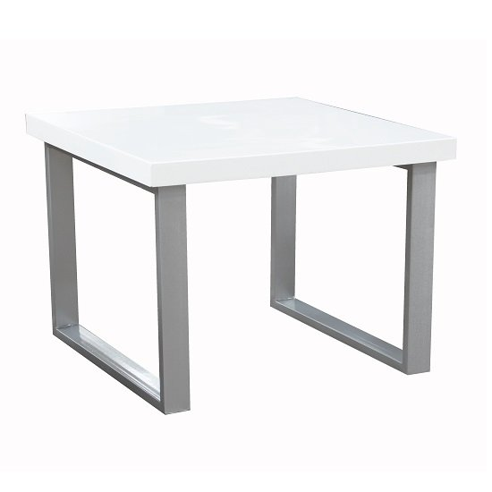 Mundell Lamp Table In White High Gloss With Chrome Base_1