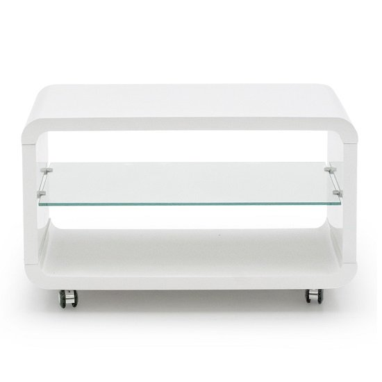 Mundell Small TV Stand In White High Gloss With Glass Shelf