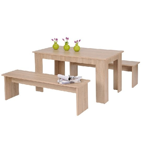 Munich Dining Table In Sonoma Oak With 2 Dining Benches