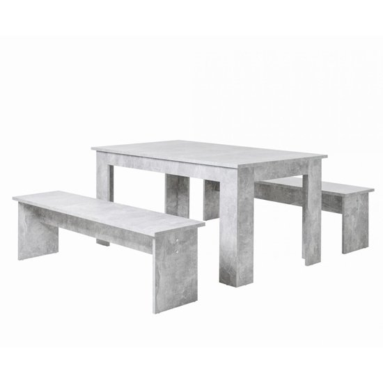 Munich Dining Table In Structured Concrete With 2 Dining Benches_2