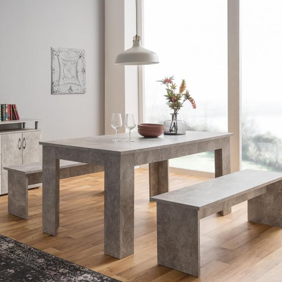 Munich Dining Table In Structured Concrete With 2 Dining Benches_3