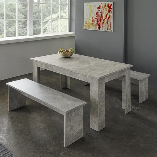 Munich Dining Table In Structured Concrete With 2 Dining Benches_1