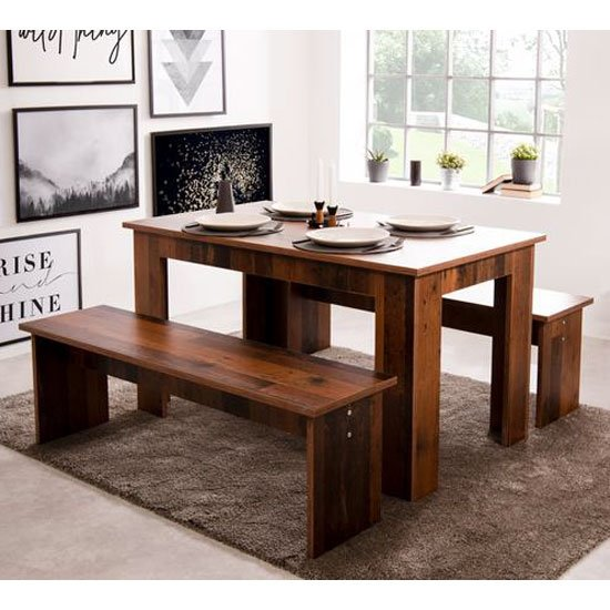 Munich Wooden Dining Table In Old Style With 2 Benches
