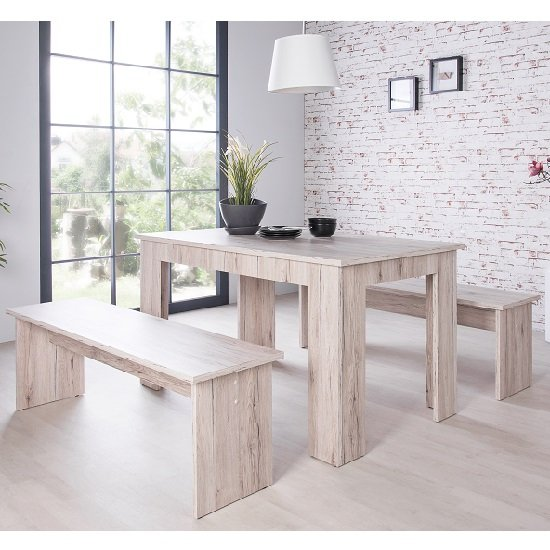 Munich Dining Table In Sorrento Oak With 2 Dining Benches