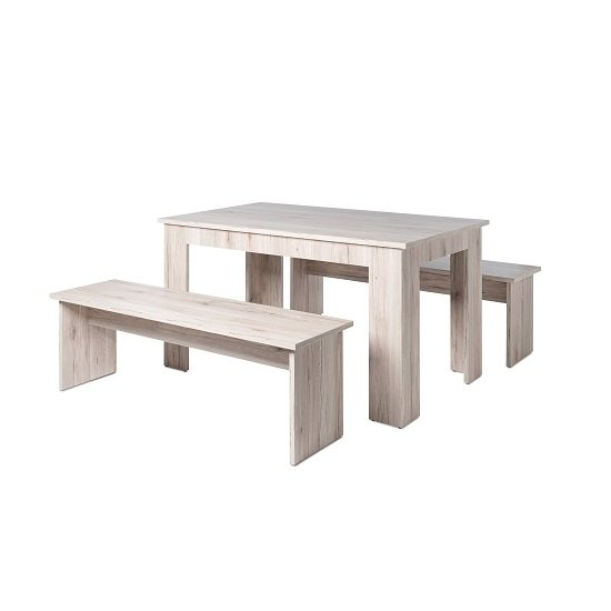 Munich Dining Table In Sorrento Oak With 2 Dining Benches_2
