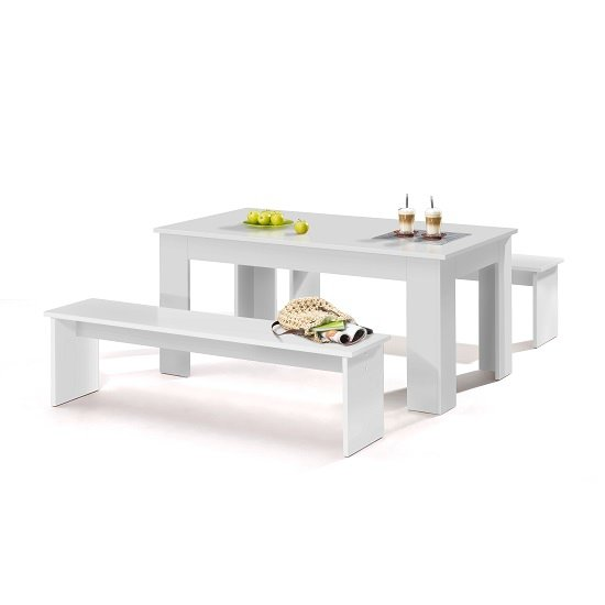 Munich Large Dining Set In White With 2 Dining Benches