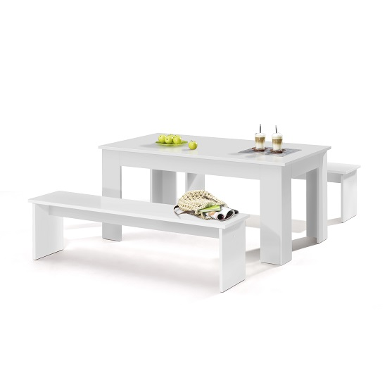 Munich Dining Table In White With 2 Dining Benches_1