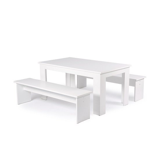 Munich Dining Table In White With 2 Dining Benches_2