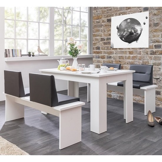 Munich Dining Table In White And 2 Dining Benches With Seats