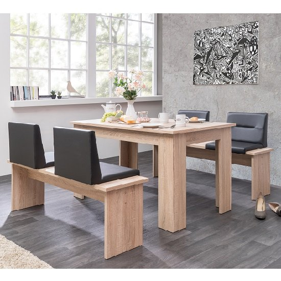 munich dining table in sonoma oak and dining benches with seats. Black Bedroom Furniture Sets. Home Design Ideas