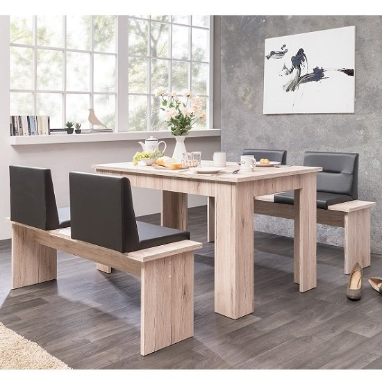 Munich Large Dining Set In Sorrento Oak Dining Benches With Seat