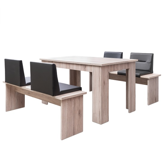 munich dining table in sorrento oak and 2 dining benches. Black Bedroom Furniture Sets. Home Design Ideas