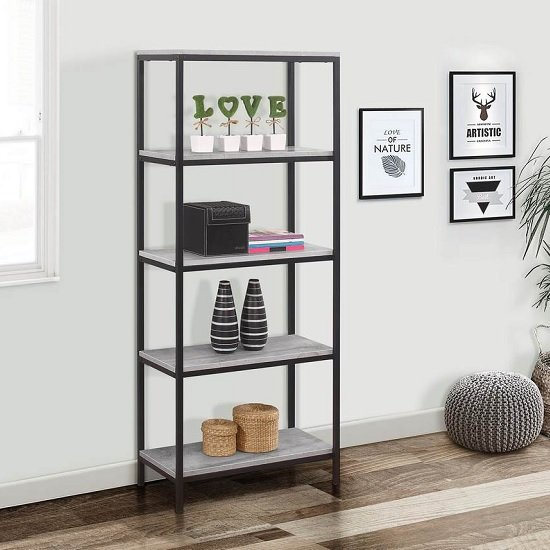 Murano Wooden Bookcase Tall In Concrete Effect With Metal Frame