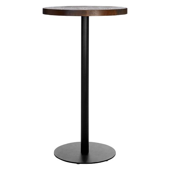 Kekouan Wooden Round Dining Table In Walnut With Black Leg  _1