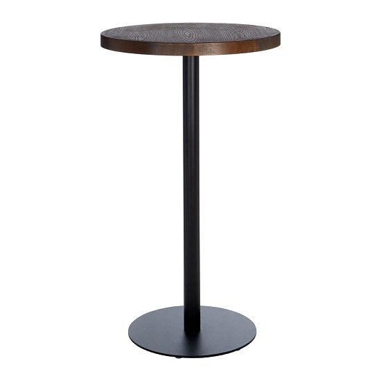Kekouan Wooden Round Dining Table In Walnut With Black Leg  _2