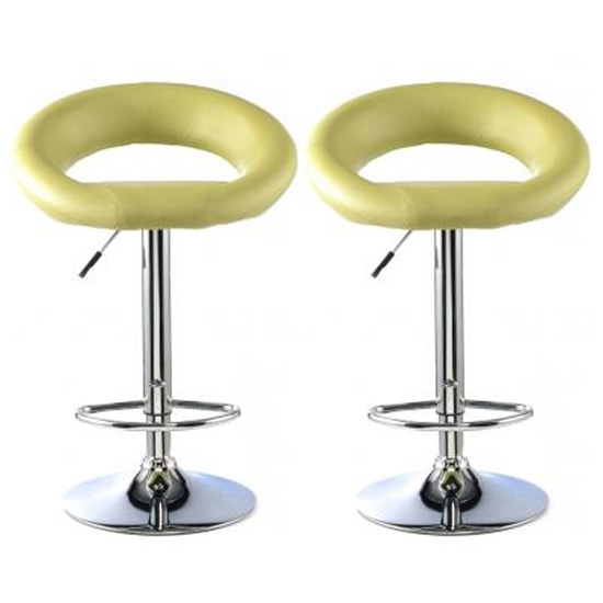Murry Lime Faux Leather Bar Stools With Chrome Base In Pair