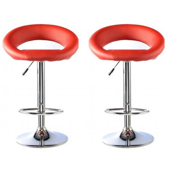 Product photograph showing Murry Red Faux Leather Bar Stools With Chrome Base In Pair