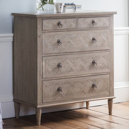 Mustique Mindy Ash Wooden Chest Of Drawers With 5 Drawers