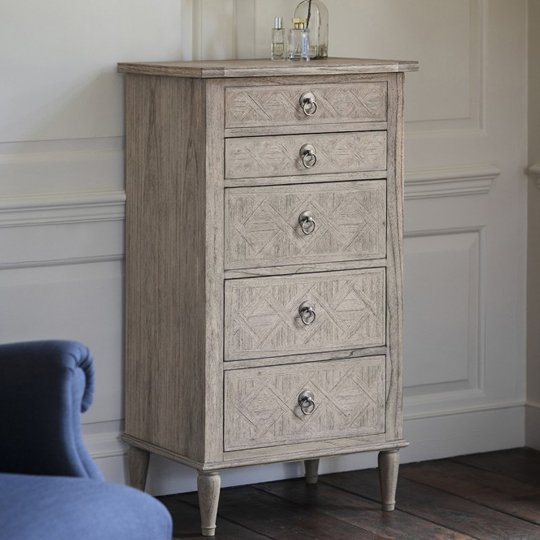 Mustique Mindy Ash Narrow Chest Of Drawers With 5 Drawers_1