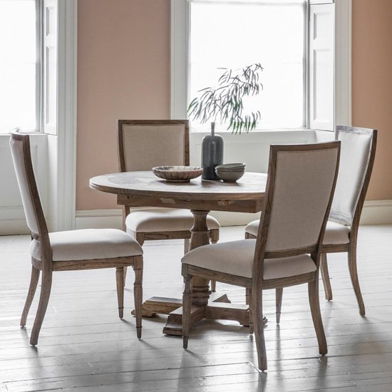 Mustique Round Extending Dining Set In Natural With 4 Chairs