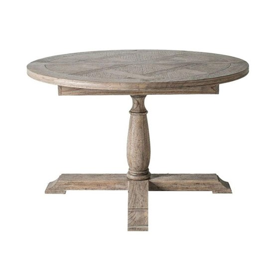 Mustique Round Extending Wooden Dining Table In Natural