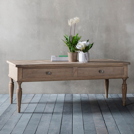Mustique Wooden Coffee Table With 2 Drawers_1