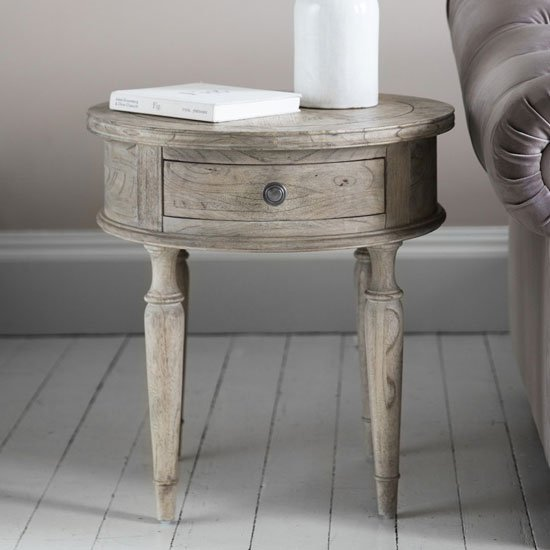 Product photograph showing Mustique Wooden Round Side Table In Light Brushed Natural