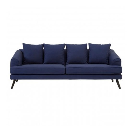 Myla 3 Seater Fabric Sofa In Navy Blue