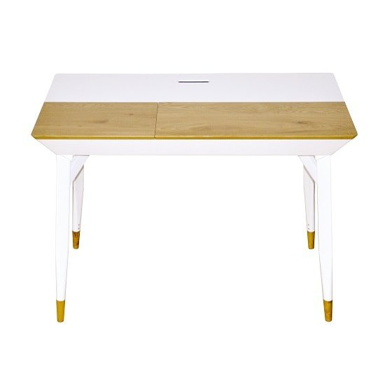 Mylan Wooden Computer Desk In Matt White And Wild Oak