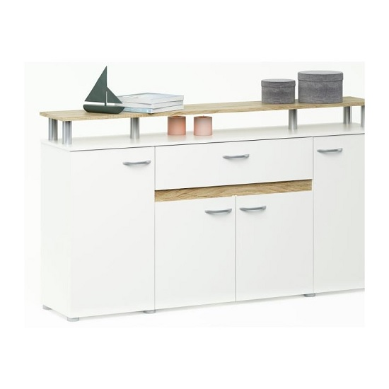 Myra Sideboard In Matt White And Brushed Oak With 4 Doors