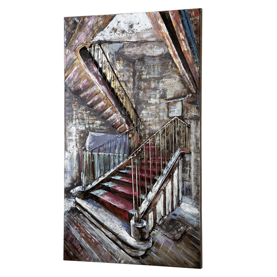 Mysterious Stair Picture Metal Wall Art In Multicolor_2