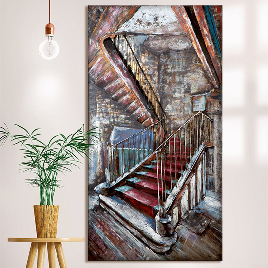 Mysterious Stair Picture Metal Wall Art In Multicolor