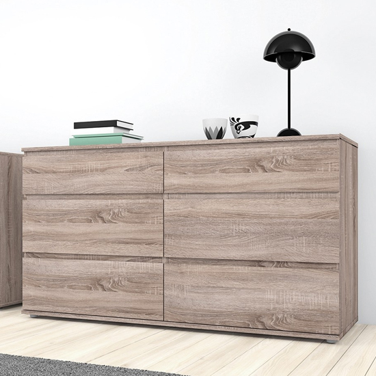 Naira Wooden Chest Of Drawers In Truffle Oak With 6 Drawers