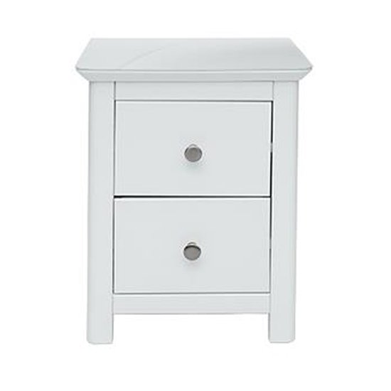 Nairn Glass Top Bedside Cabinet In White With 2 Drawers
