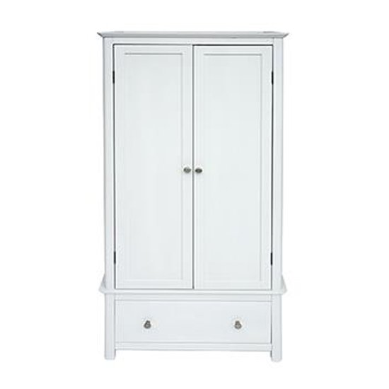Nairn Glass Top Wardrobe In White With 2 Doors And 1 Drawer