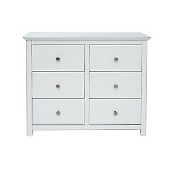 Nairn Glass Top Wide Chest Of Drawers In White With 6 Drawers