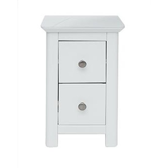 Nairn Petite Glass Top Bedside Cabinet In White With 2 Drawers_1