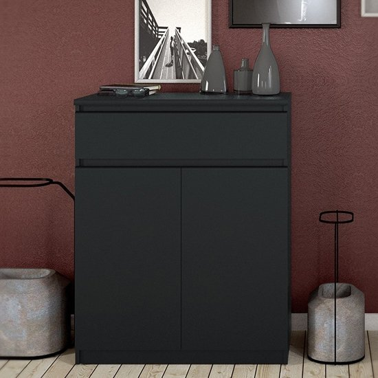 Nakou Wooden 2 Doors 1 Drawer Sideboard In Matt Black