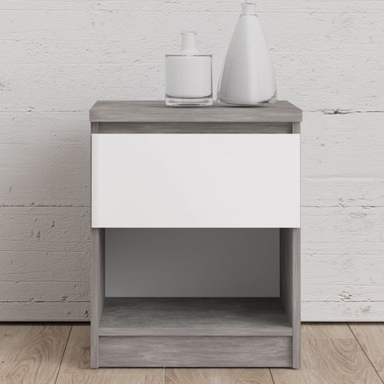 Nakou Gloss 1 Drawer 1 Shelf Bedside Cabinet In Concrete White